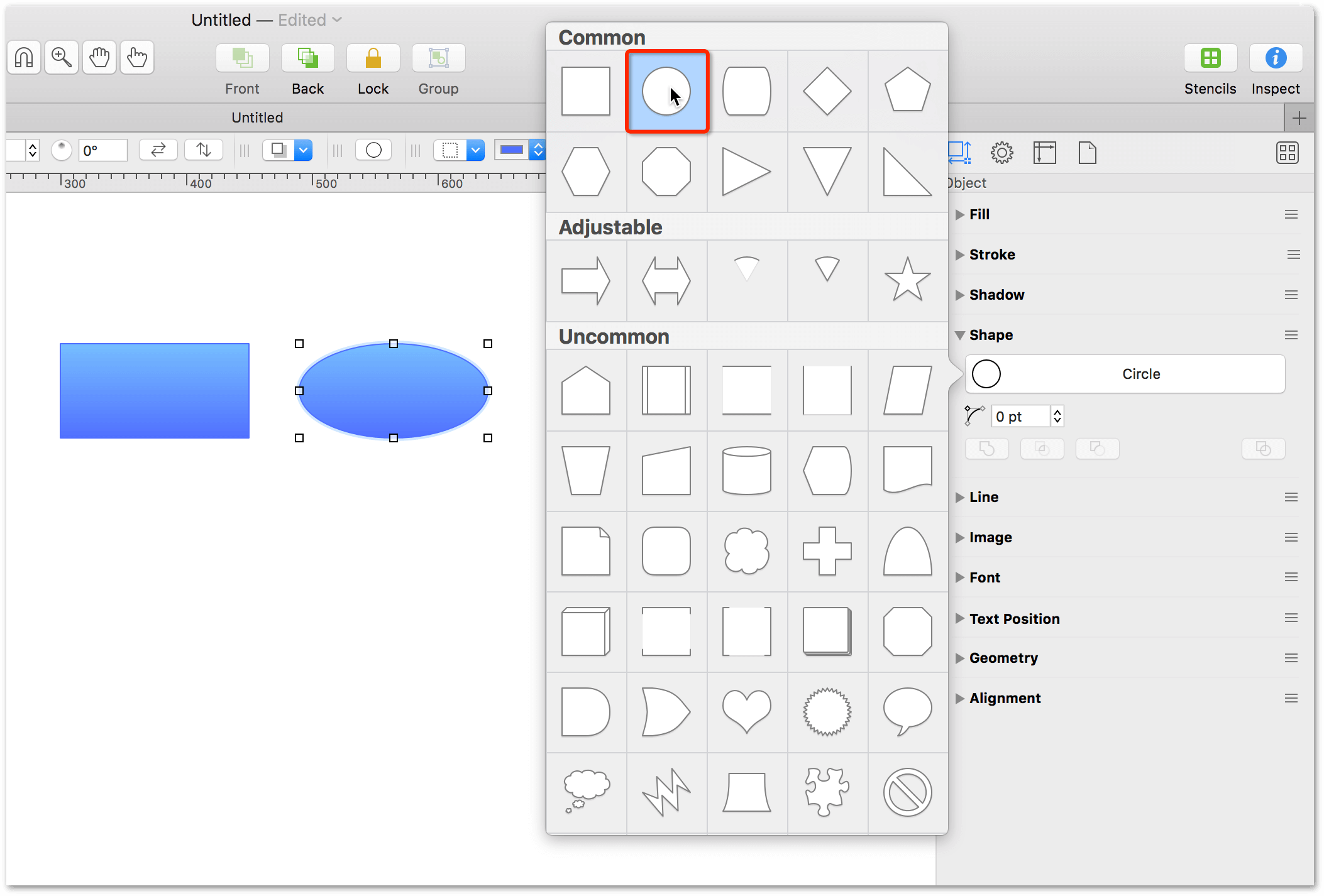 Changing a shape using the Shape inspector
