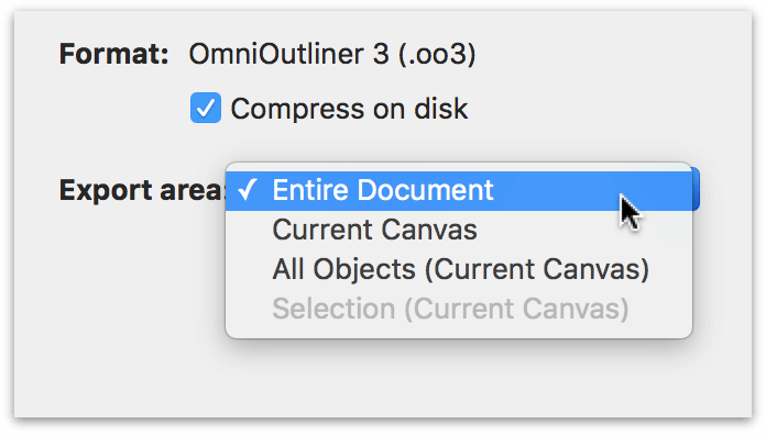 The export options for exporting to OmniOutliner's file format