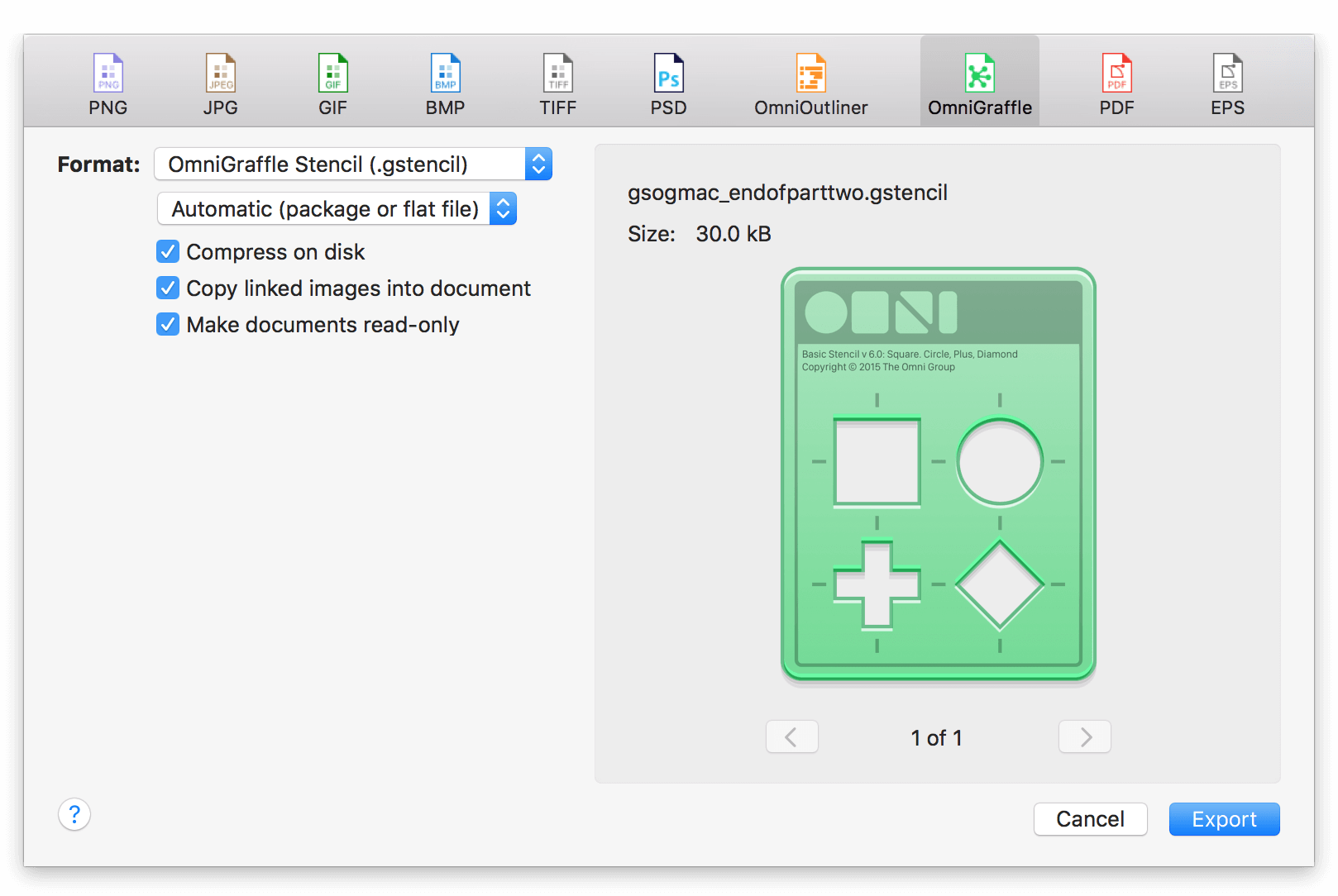 Exporting as an OmniGraffle Stencil file