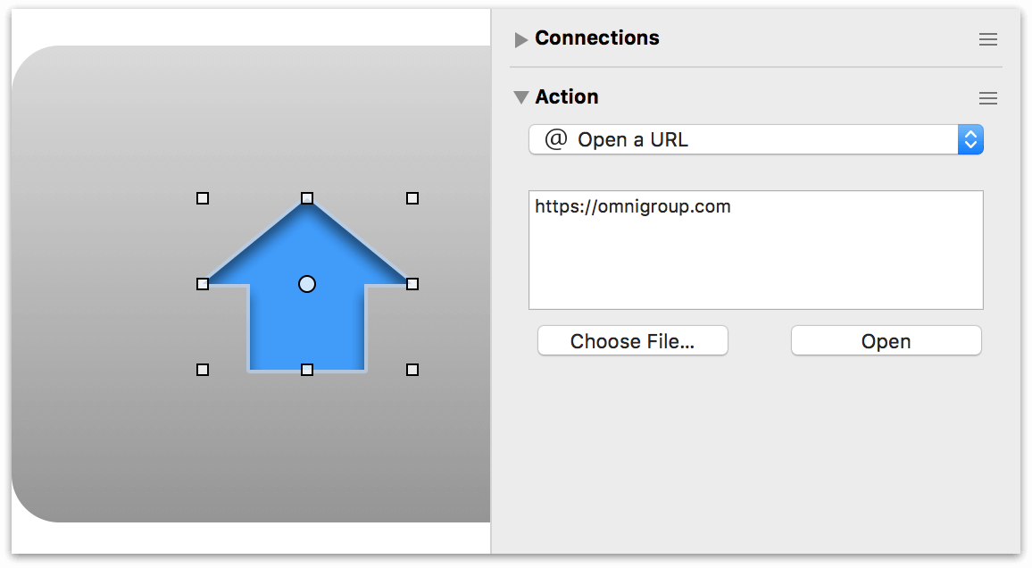 Using the Actions inspector to specify a URL for the Home icon in the navbar