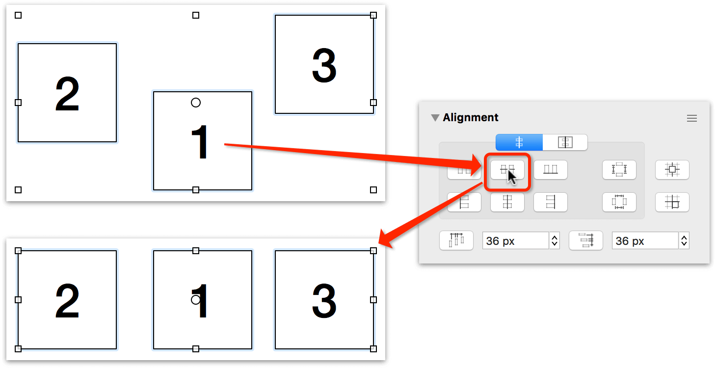 Aligning objects based on the order of their selection