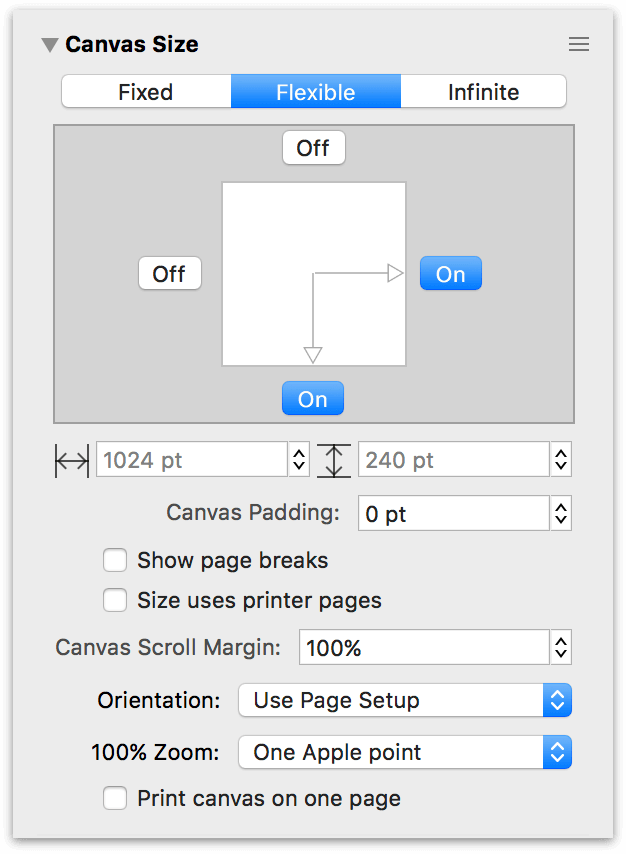 The Canvas Size inspector set to a Flexible size
