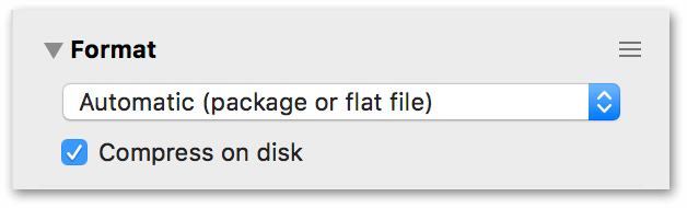 The Format inspector, showing the settings for storing files locally on your Mac's hard drive