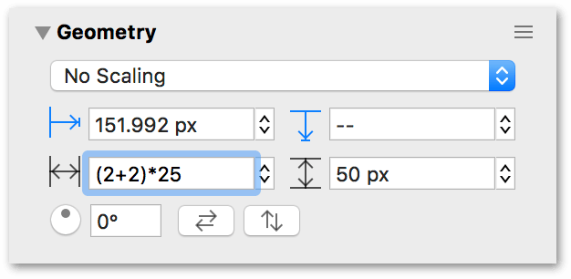 The width field uses 2 plus 2 times 25 as an equation to get 100 pixels as the objects width