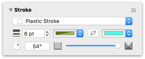 The Stroke inspector with the Plastic Stroke type selected