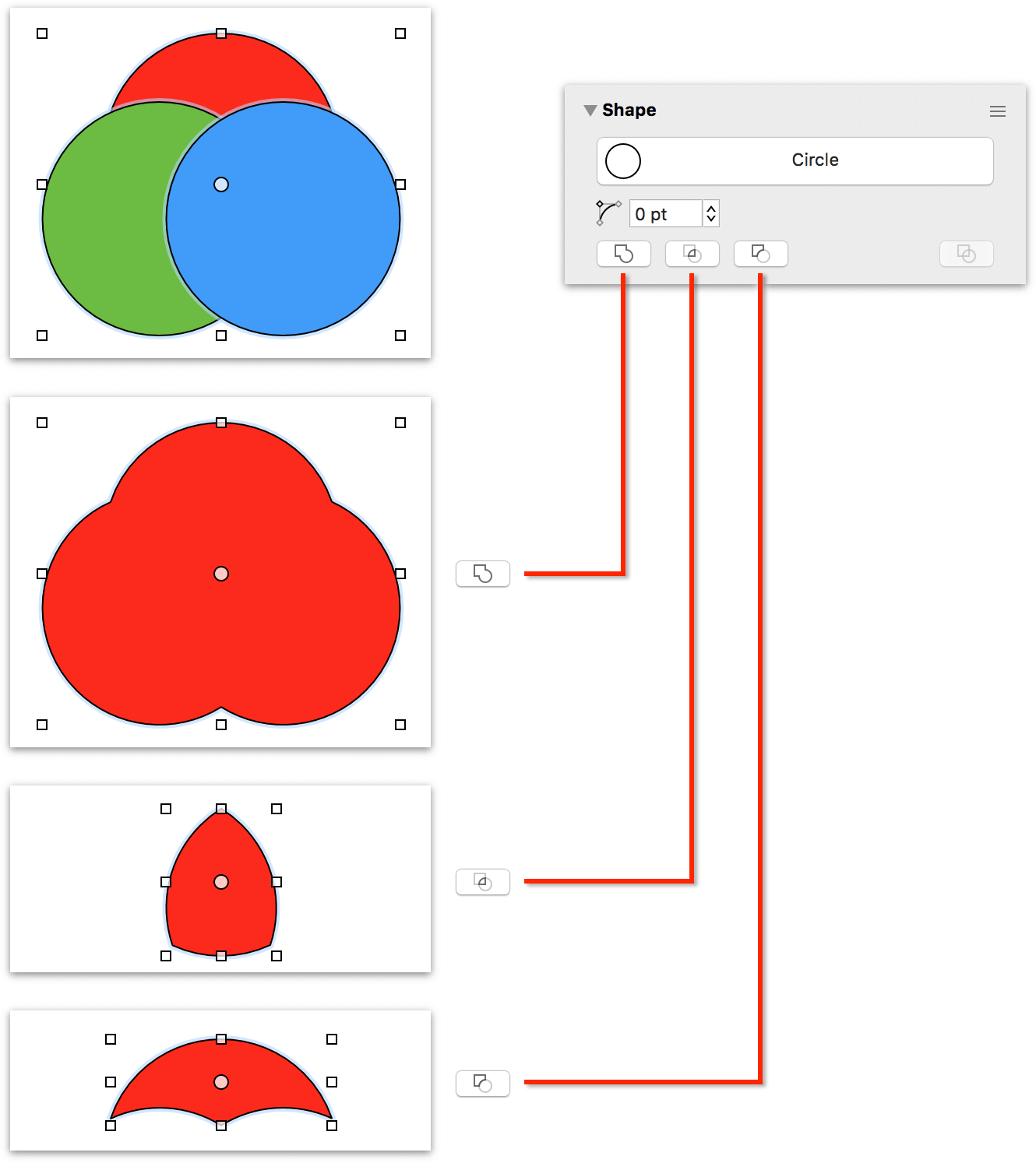 Shape combinations in OmniGraffle Pro