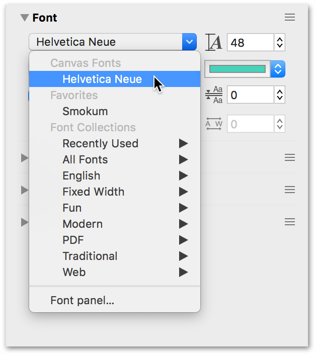 The Font menu lets you choose from any font installed on your system.
