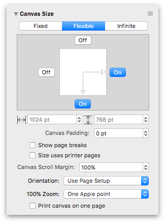 Using the Canvas Size inspector to create an Infinite canvas