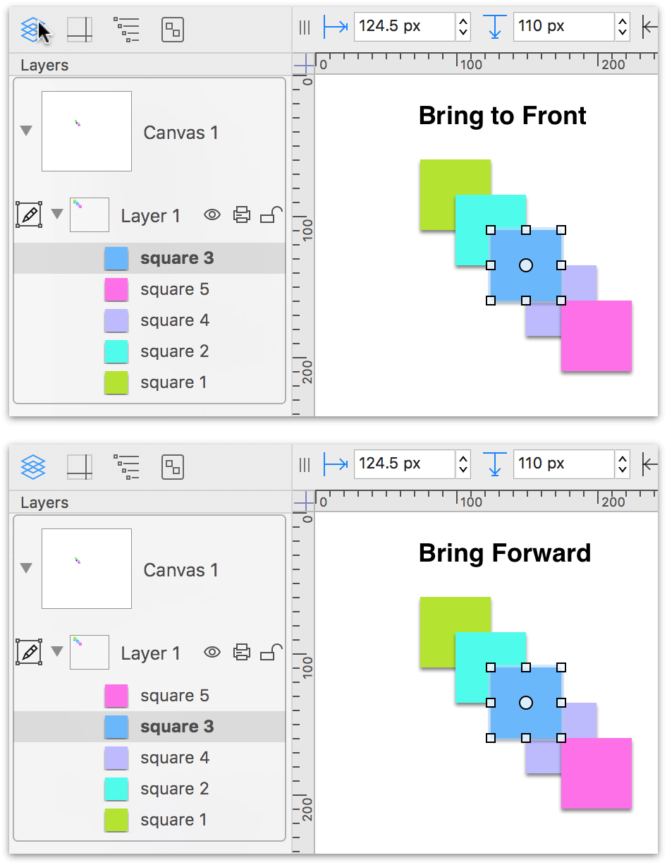 Two screenshots showing the effect of Bring to Front and Bring Forward
