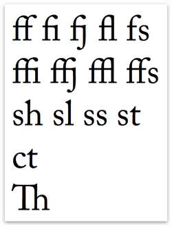 Characters with a default ligature applied