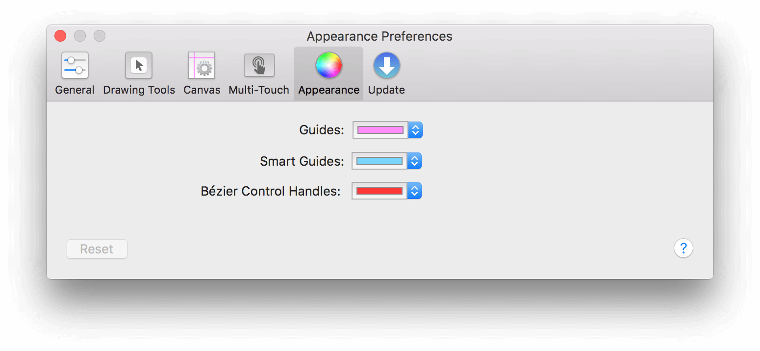 The Appearance Preference panel