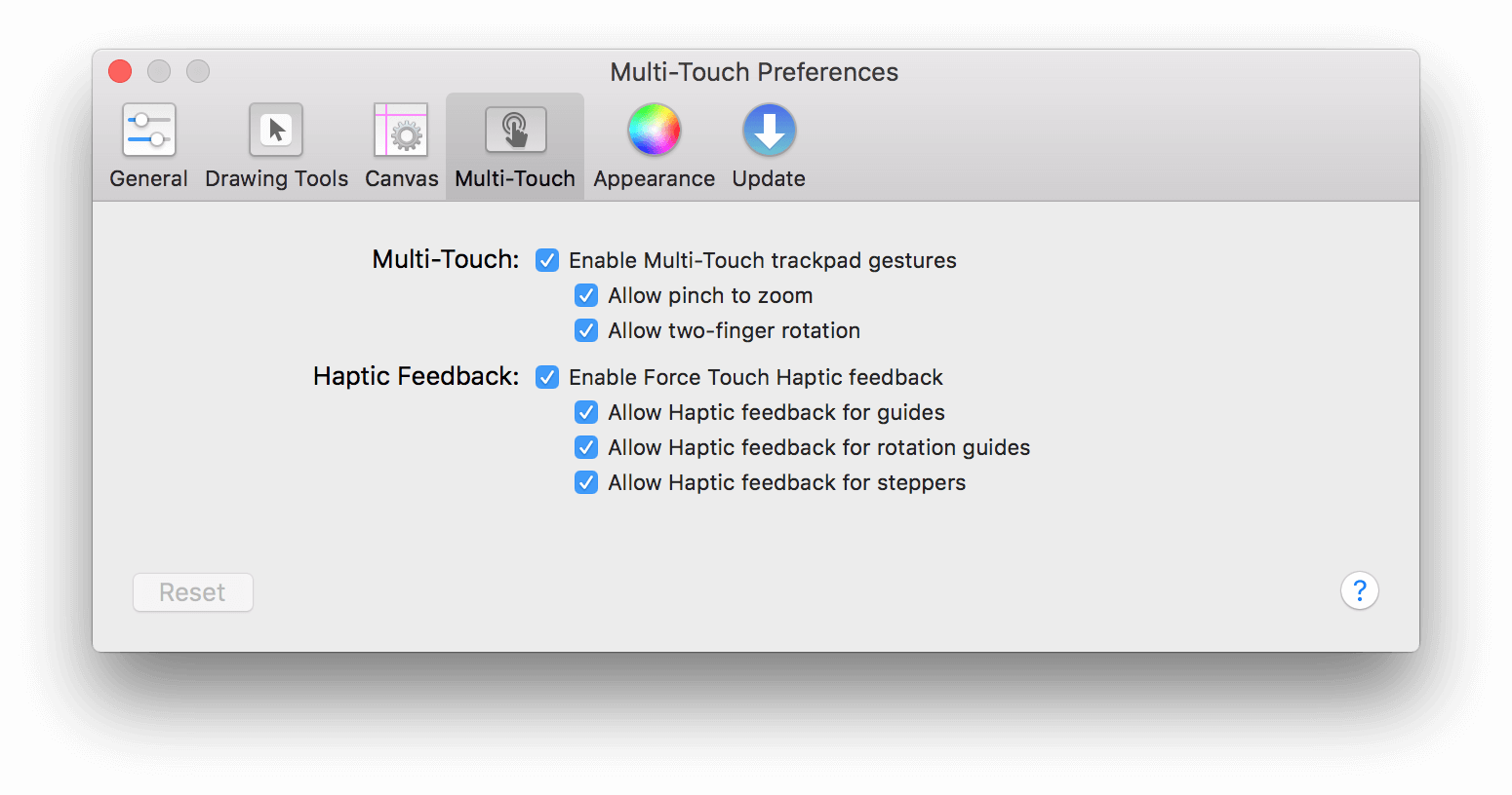 The Multi-Touch Preferences panel