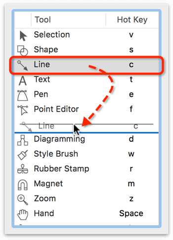 Use the left side of the Drawing Tools preference pane to rearrange the tools in the Tool Palette.