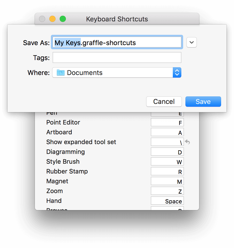 After choosing Export Shortcuts, a sheet opens on the Keyboard Shortcuts window so you can choose a location and name the file.