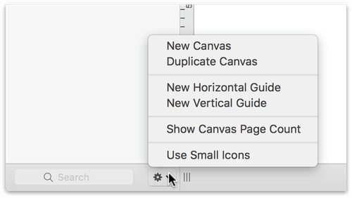 Using the Action menu at the bottom of the Sidebar to add a Guide.
