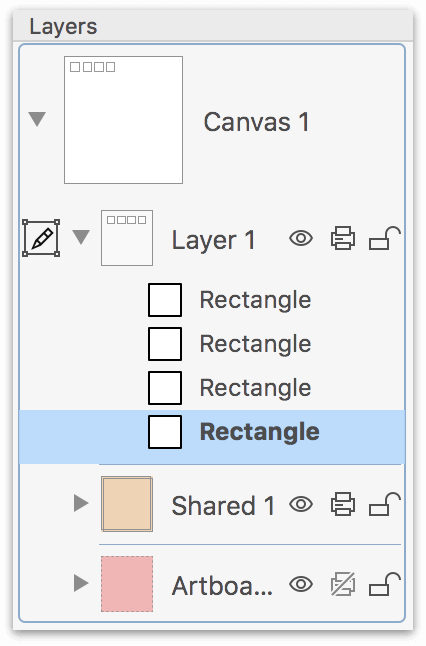 The Layers tab, showing a Canvas with three layers; Layer 1 has four rectangle shapes on it.