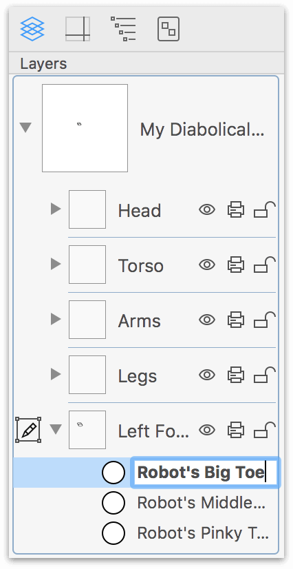 Renaming the objects on layers