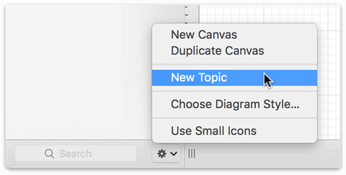 The Action menu, displaying the New Topic option for starting a new outline in OmniGraffle.
