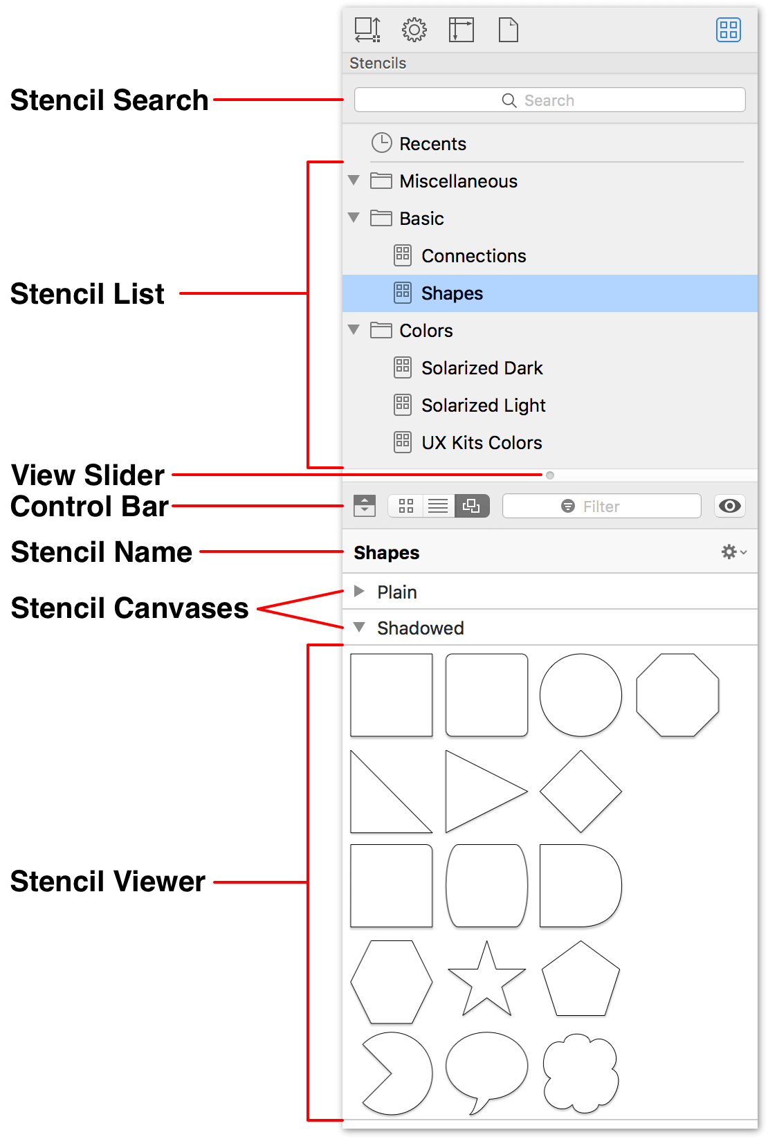 The Stencil Browser, as shown in the default position in the Right Sidebar.