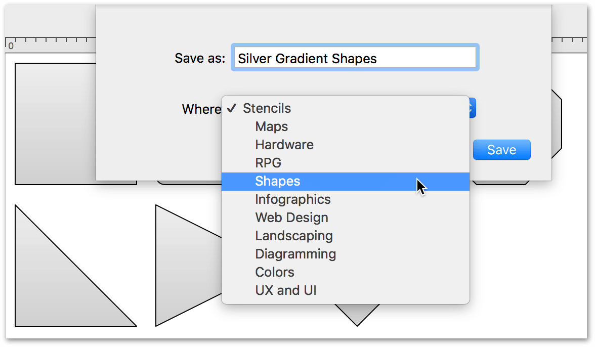 Saving a stencil file to the Stencils folder