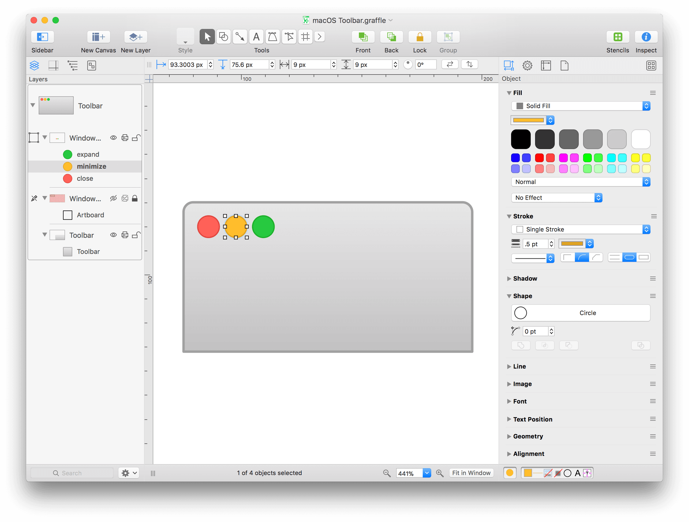 An OmniGraffle file with three different star images