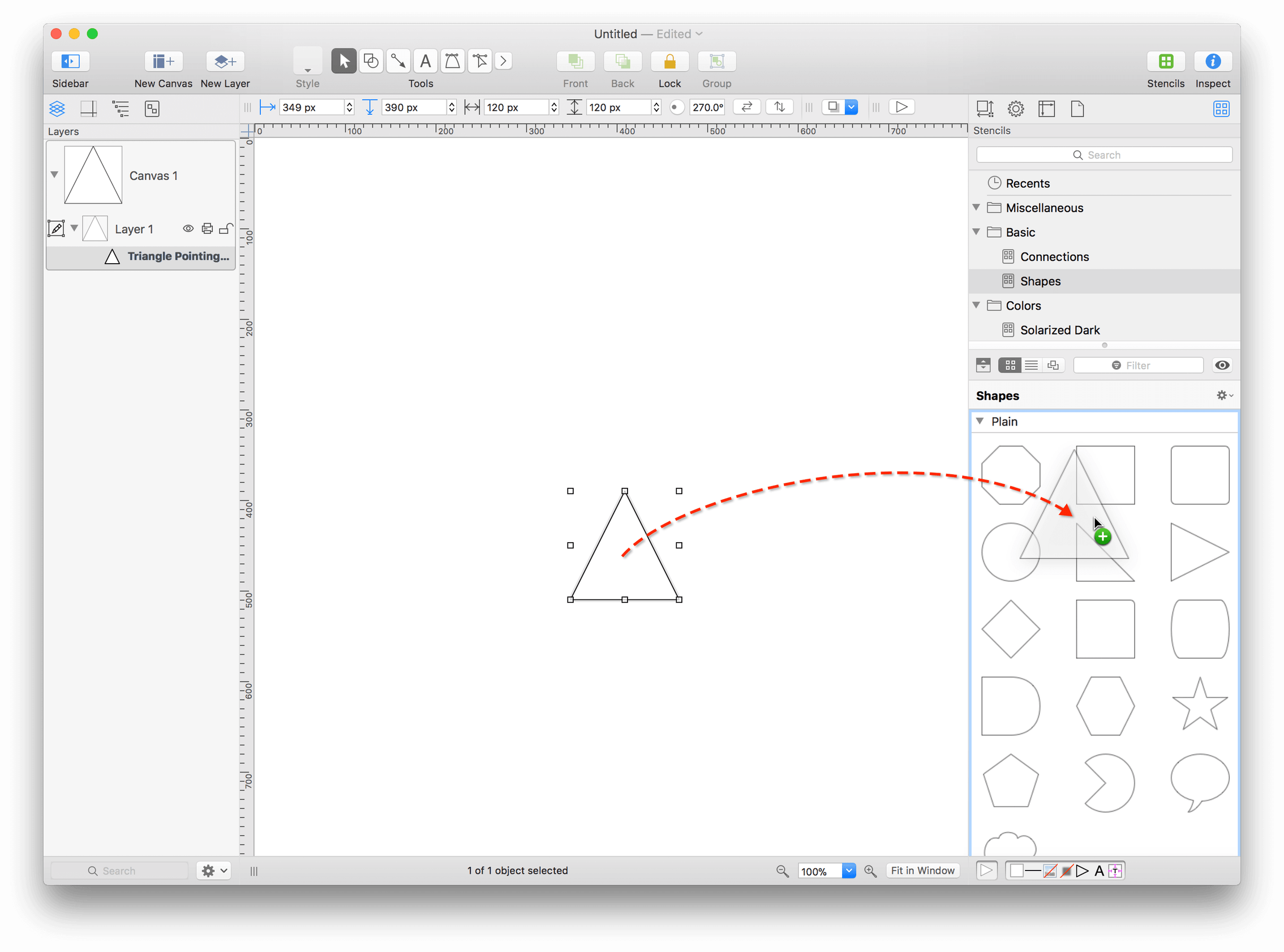 A triangle is shown on the canvas, with a dashed line used as an indicator that the object is being dragged into the Stencil Browser.