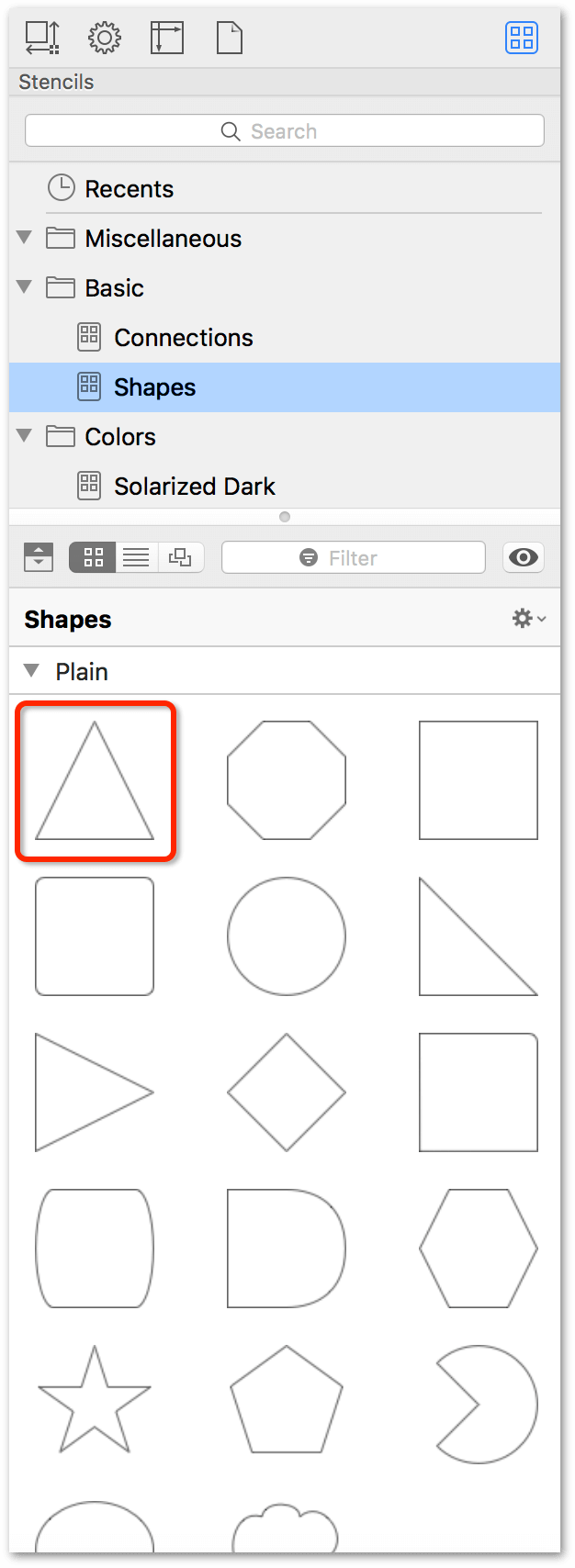 The Stencil Browser, showing that the triangle has been added to the stencil set.
