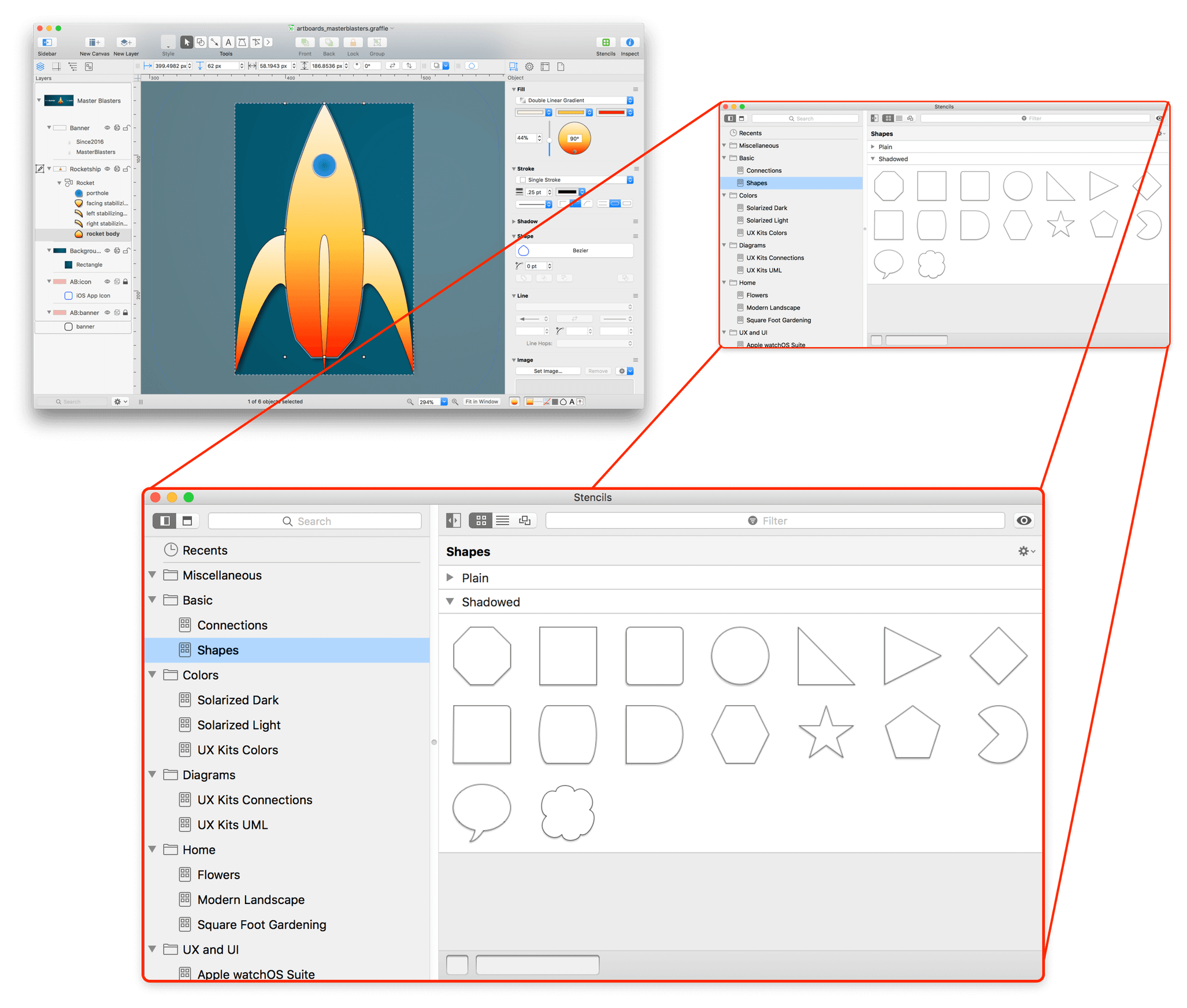 An exploding view of OmniGraffle, showing the Stencil Browser as a floating window, shown in a much larger scale than in the full window in the background.