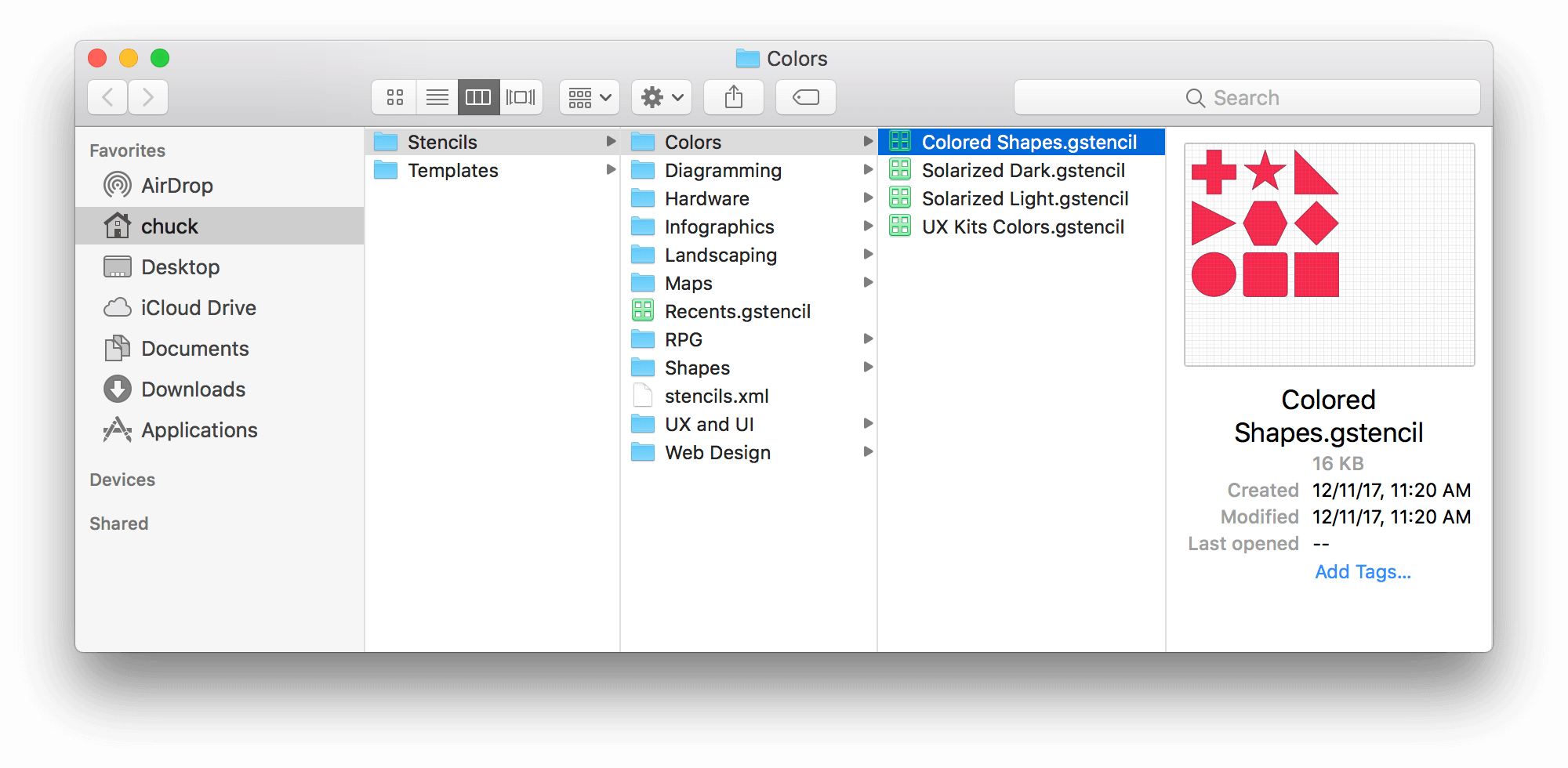 A Finder window, open to the Colors folder, within the Stencils folder.