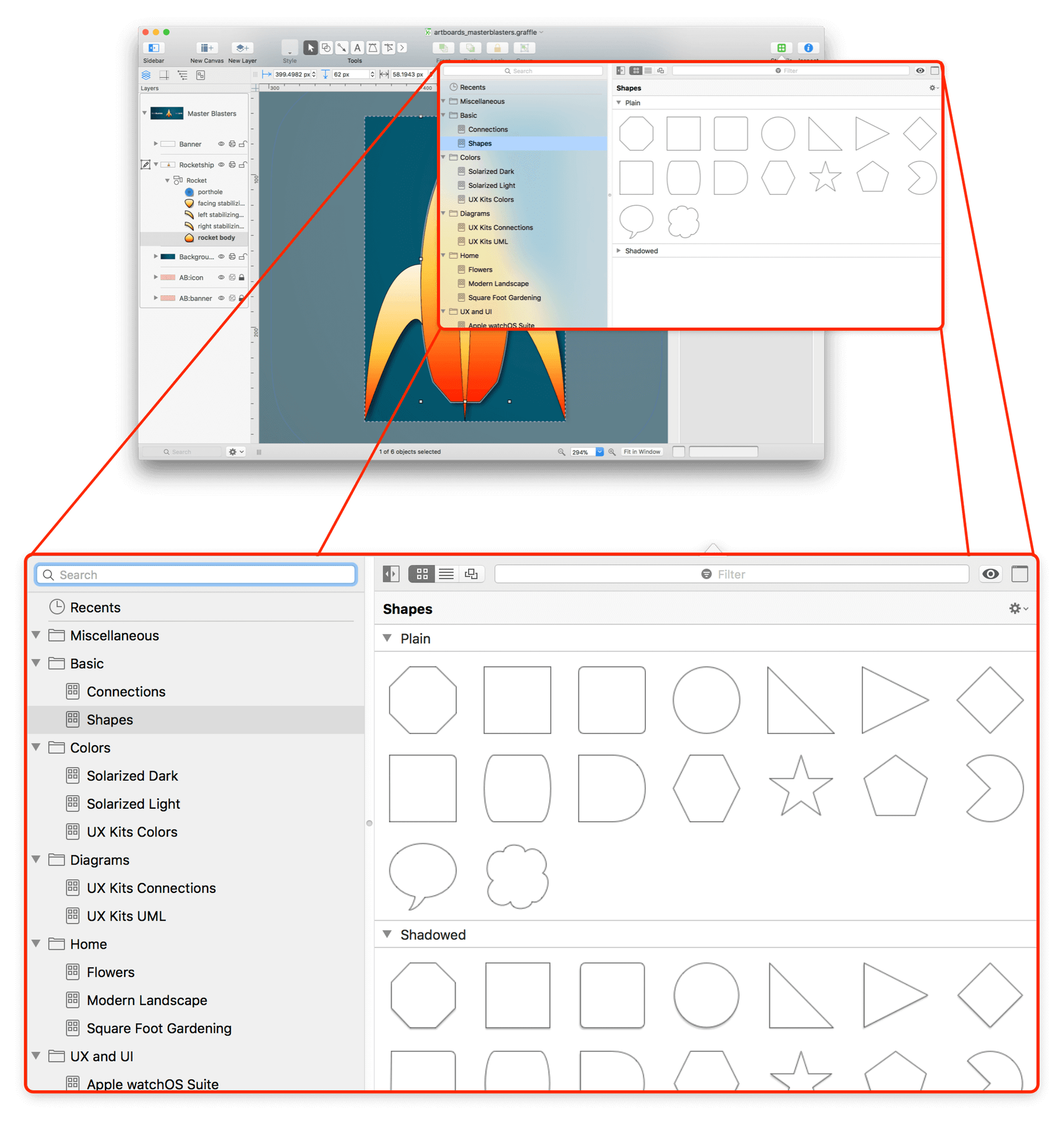 An exploding view of OmniGraffle, showing the Stencil Browser in a popup window available from the toolbar, shown in a much larger scale than in the full window in the background.