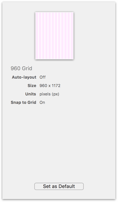 The right side of the Resource Browser shows the details for the 960 Grid template
