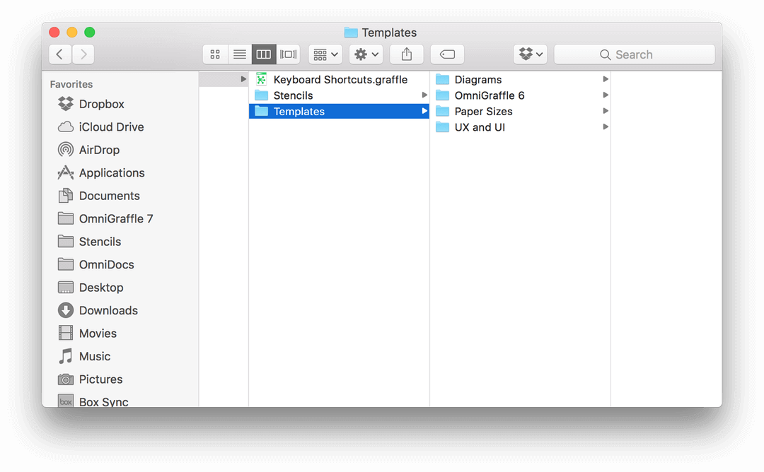 Selecting the Templates window in the Finder