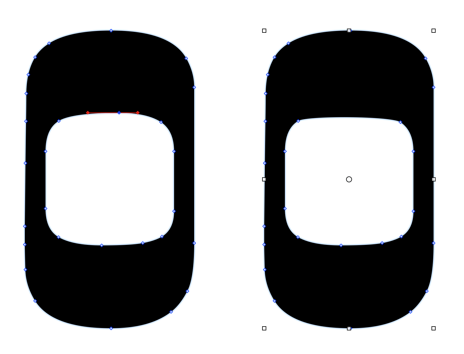 This shows two Oh characters side by side. The Oh on the left has a vector point selected along the top-inside of the shape. The Oh on the right shows that same Oh character after the selected vector point has been deleted.