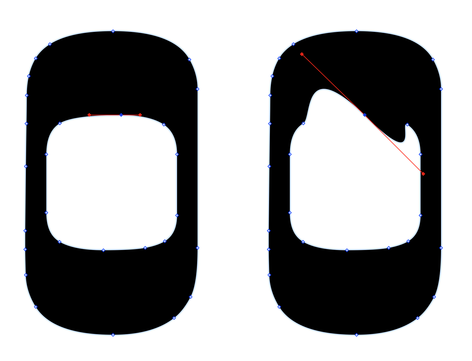This shows two Oh characters side by side. The Oh on the left has a vector point selected along the top-inside of the shape. The Oh on the right shows that same Oh character after changing the positions of the Bezier curve's control handles.