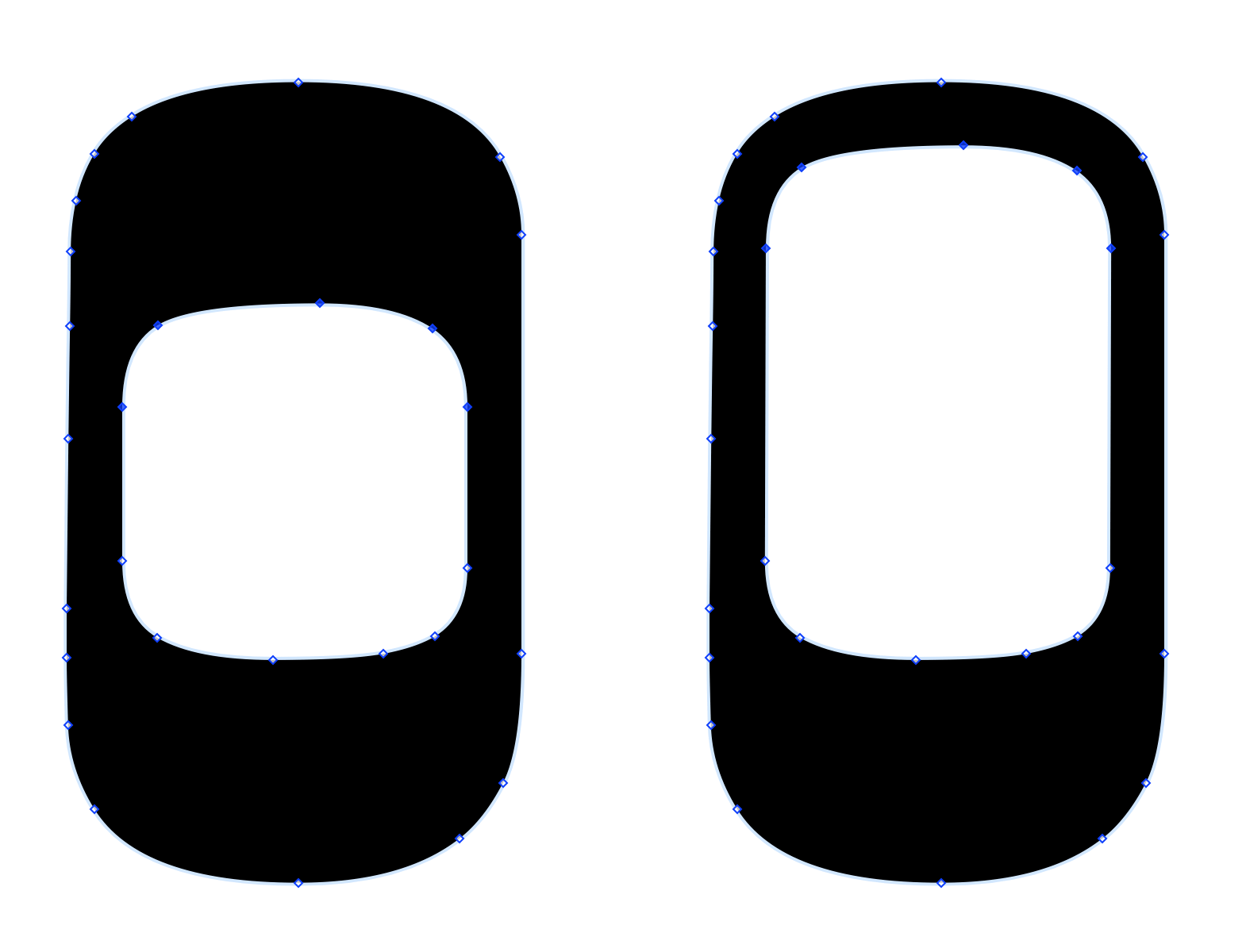 This shows two Oh characters side by side. The Oh on the left has the top five vector points inside the shape selected. The Oh on the right shows that same Oh character after the selected vector points have been moved upward within the character.