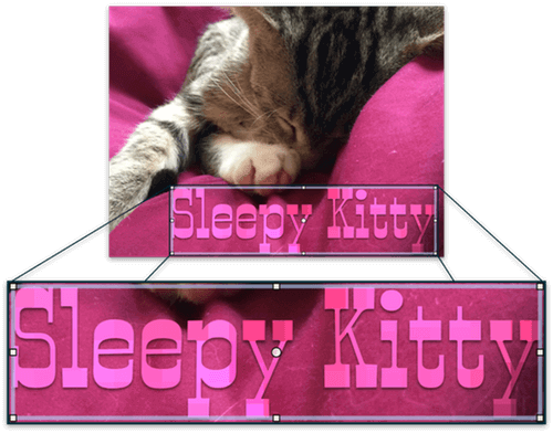 "A picture of a kitten sleeping on a blanket, with the words ""Sleepy Kitty"" blurred and pixelated on the layer above."