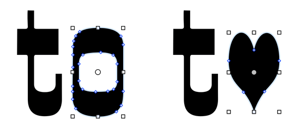 "In the word ""to"" on the left, the letter Oh is selected. On the right, the Oh is replaced with a heart shape."