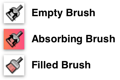 The three states of the Style Brush: Empth, Absorbing, and Filled