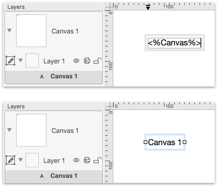 Top: Entering the Canvas variable; Bottom: The Canvas variable displays the name of the current canvas.