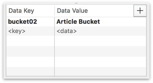 A key-value pair entered into the Data Key and Data Value fields in the Object Data inspector
