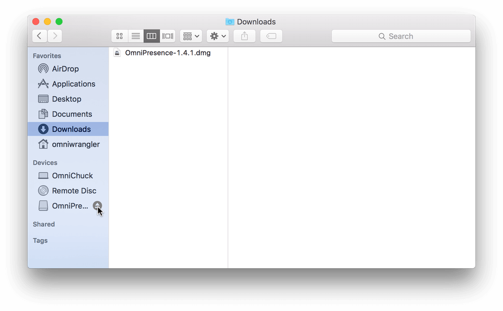 In the Finder's sidebar, click the eject button next to the OmniPresence disk image to eject it from your system