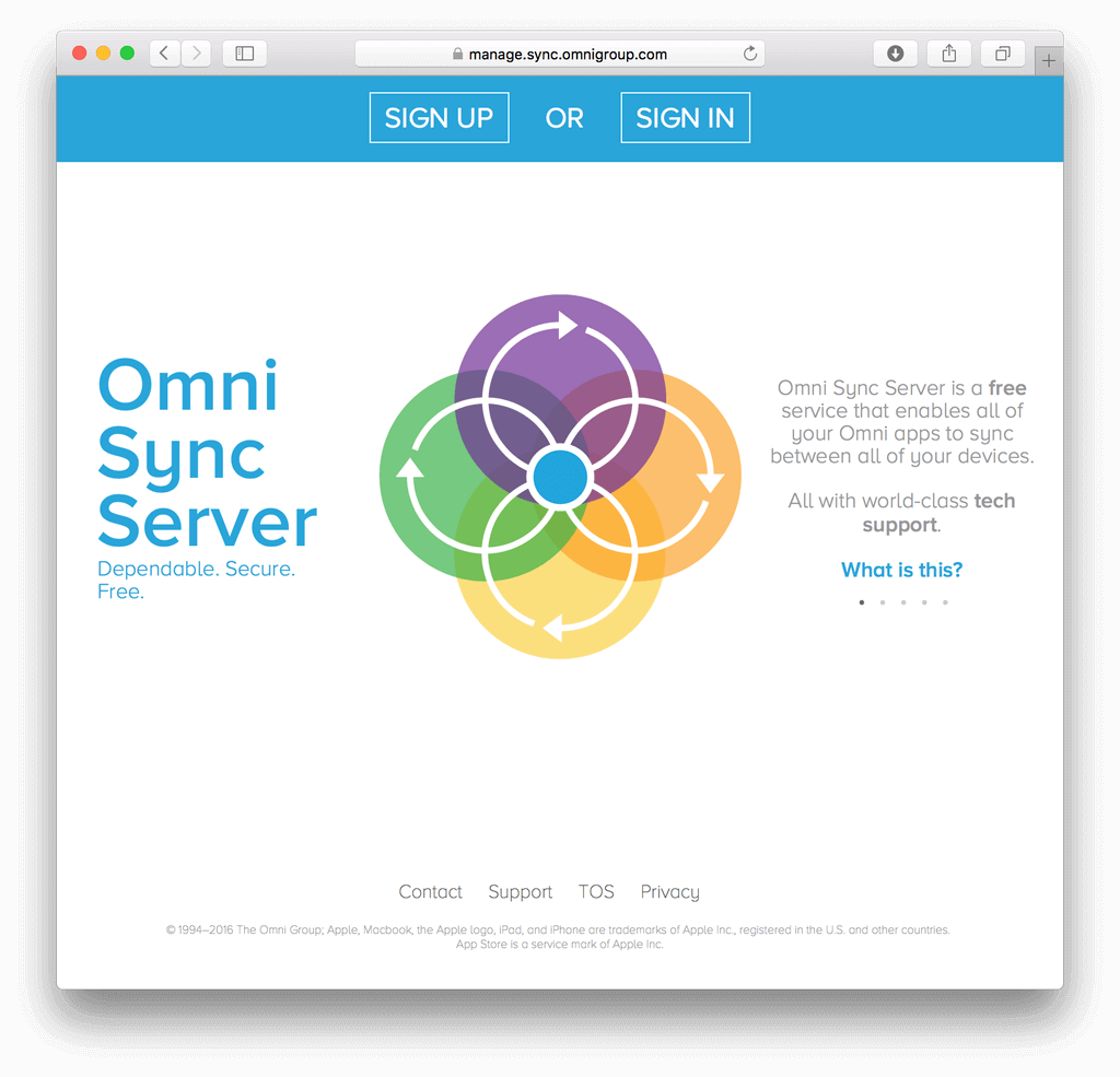 The Omni Sync Server web page