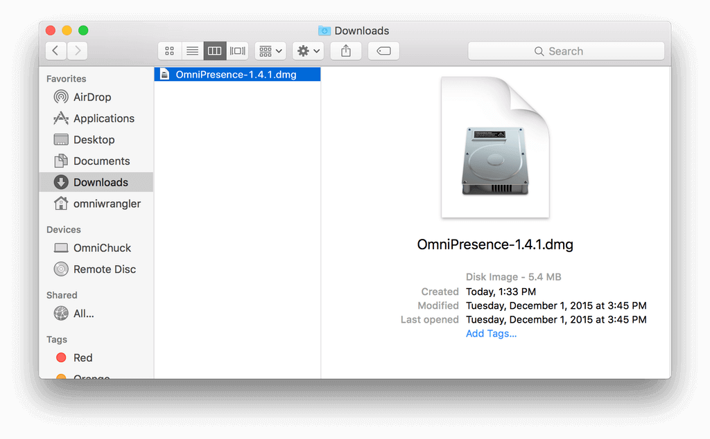 A Finder window, open to the Downloads folder to show the downloaded OmniPresence disk image