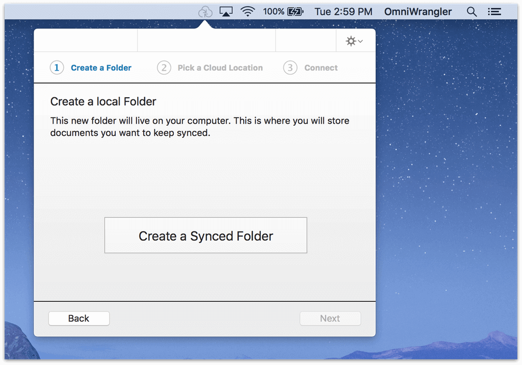 Click the Create a Synced Folder button to specify a place on your Mac to sync files to