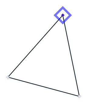 围绕顶部控制点的蓝色菱形
