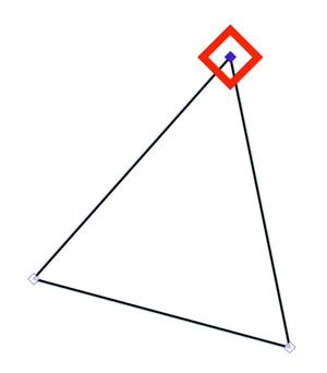 围绕顶部控制点的红色菱形