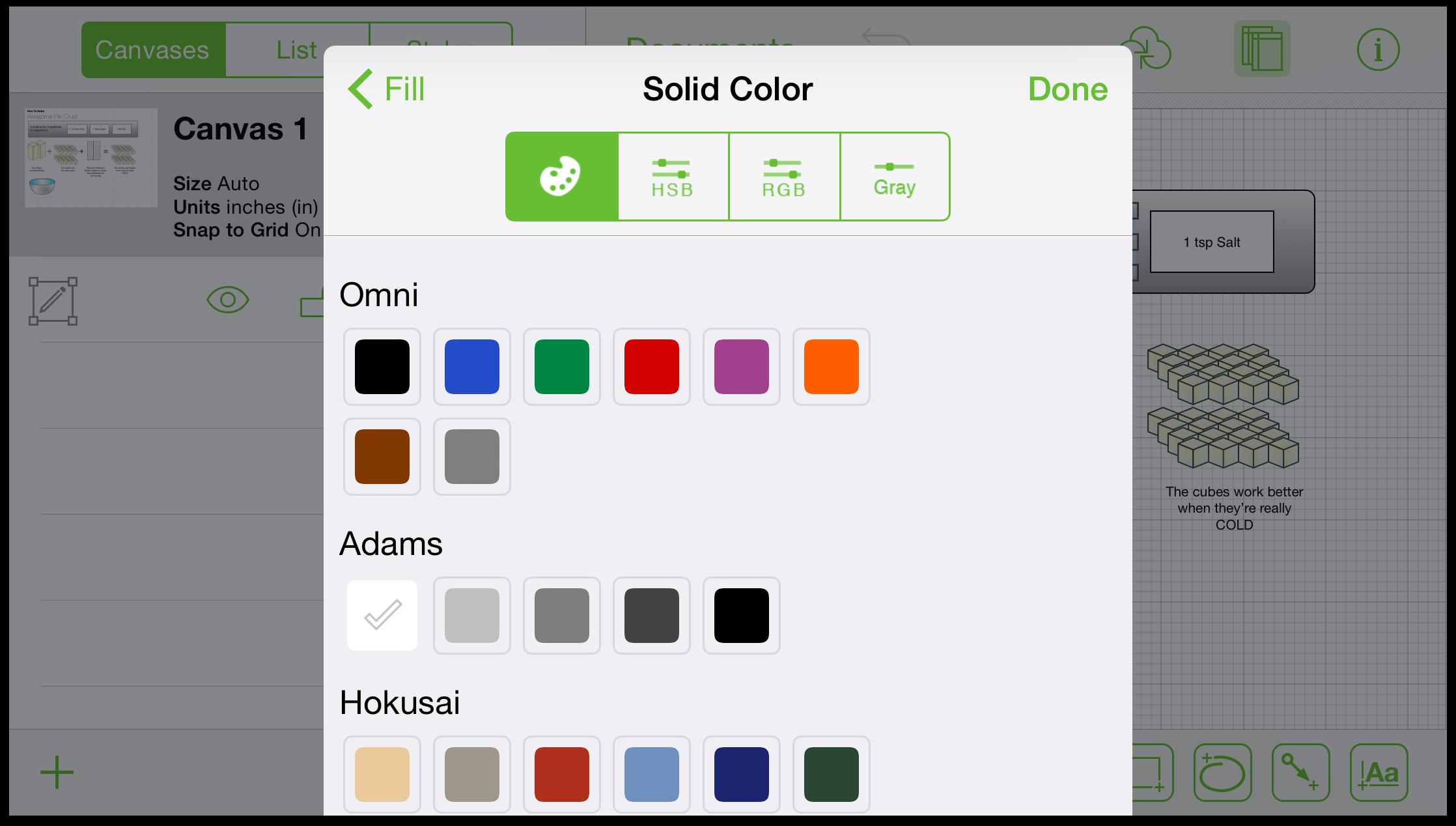 OmniGraffle 2 3 for iOS User Manual - Using the Inspectors
