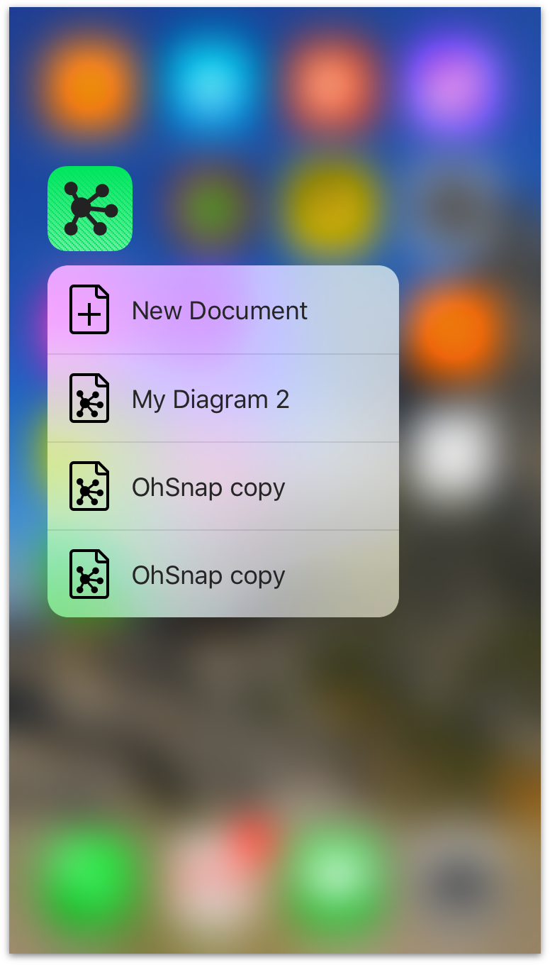 peek and pop with 3d touch on the app icon - Omnigraffle App