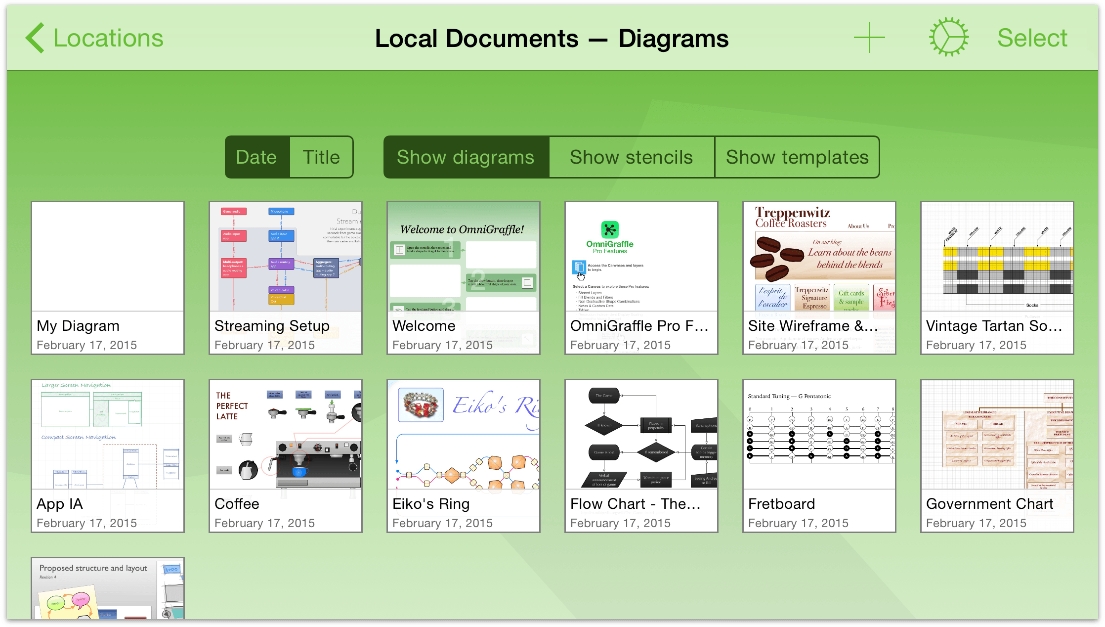 pull down on the screen to find the document organizer - Omnigraffle App