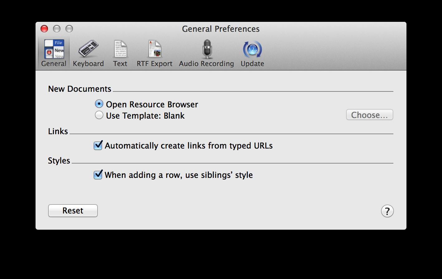 Omnioutliner 4 for mac user manual omnioutliner preferences for Omnioutliner templates